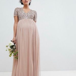 Asos Sz 6 Maya Maternity Tulle Sequins Blush Dress